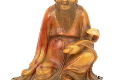 soapstone immortal: A Fine Chinese Soapstone Figure of an Immortal : $34,200